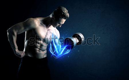 Stockfoto: Gespierd · lichaam · bouwer · gewicht · energie · lichten