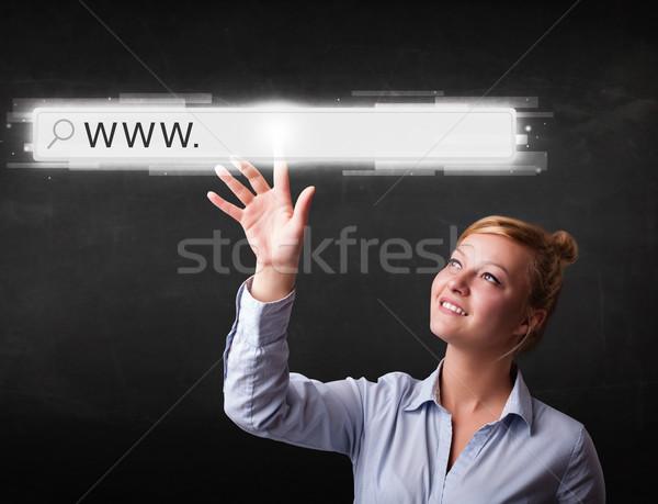 Jóvenes mujer de negocios tocar web navegador dirección Foto stock © ra2studio