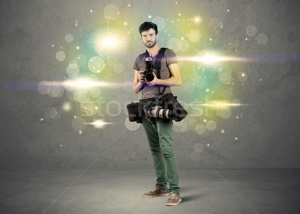 Fotós villanó fények fiatal amatőr profi Stock fotó © ra2studio