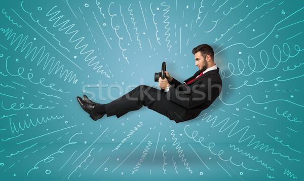Drôle Guy imaginaire véhicule lignes Photo stock © ra2studio