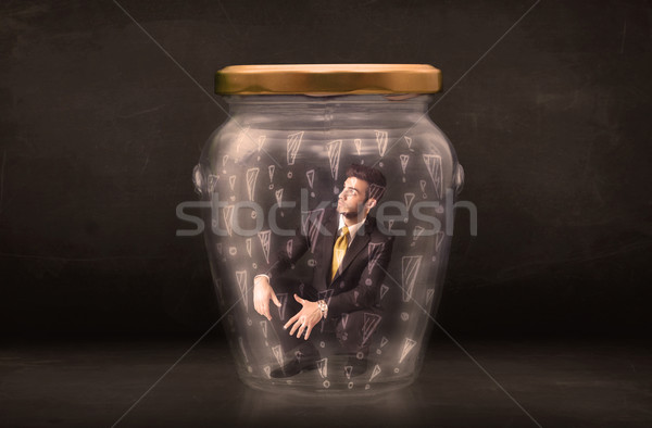Homme d'affaires piégé jar affaires verre triste Photo stock © ra2studio