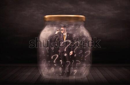 üzletember zárolt bögre kérdőjelek üzlet üveg Stock fotó © ra2studio