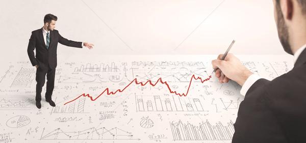 Zdjęcia stock: Człowiek · biznesu · patrząc · czerwony · arrow · strony