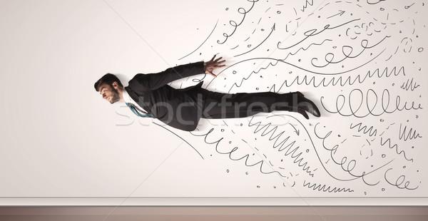 Zakenman vliegen lijnen uit reizen Stockfoto © ra2studio