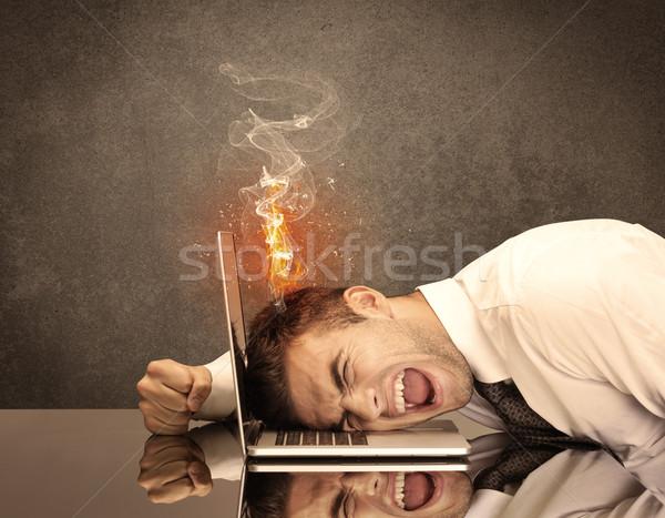 Foto stock: Triste · negócio · pessoas · cabeça · fogo · frustrado