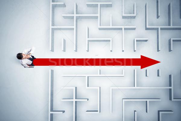 Stock fotó: üzletember · néz · labirintus · piros · nyíl · mutat