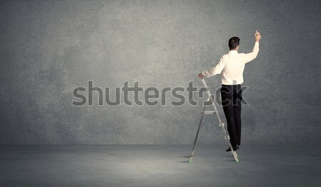 бизнесмен рисунок Гранж стены человека Постоянный Сток-фото © ra2studio