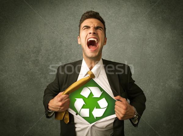 ビジネスマン オフ シャツ リサイクル にログイン 胸 ストックフォト © ra2studio