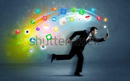 Ejecutando empresario aplicación iconos dispositivo colorido Foto stock © ra2studio