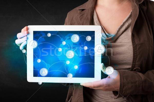 Jonge persoon communicatie technologie aarde Stockfoto © ra2studio