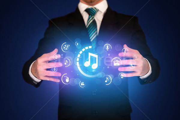 Adam dijital multimedya simgeler işadamı Stok fotoğraf © ra2studio