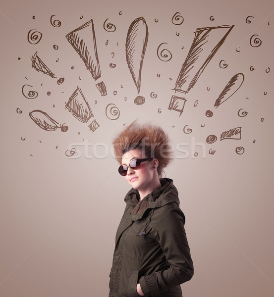 Young woman with hair style and hand drawn exclamation signs Stock photo © ra2studio