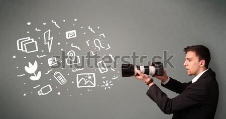 Businessman shoots his head with gun Stock photo © ra2studio