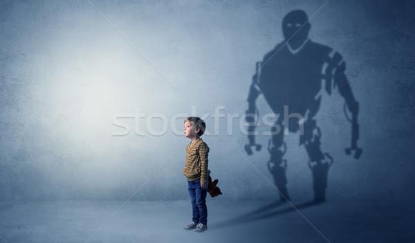 тень Cute мало мальчика изображение большой Сток-фото © ra2studio