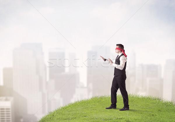 Bekötött szemű üzletember fiatal lépcső folt fű Stock fotó © ra2studio