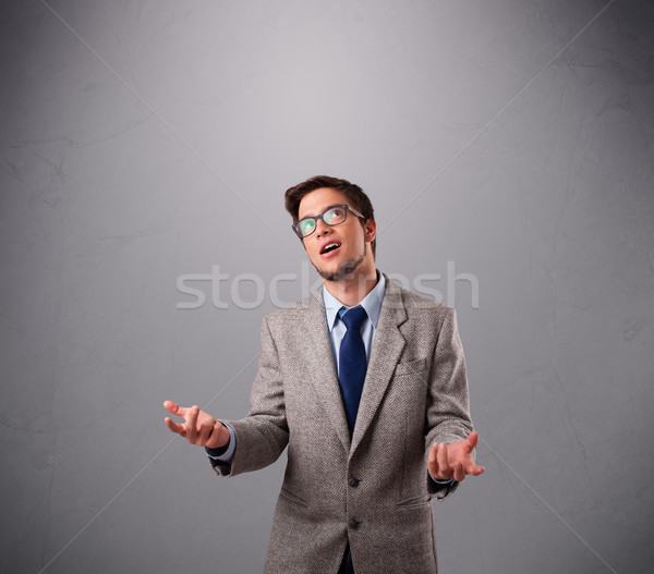 funny man juggling with copy space Stock photo © ra2studio