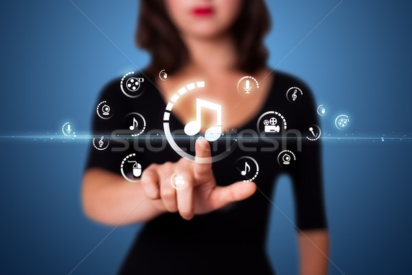 Stock fotó: üzletasszony · kisajtolás · virtuális · média · gombok
