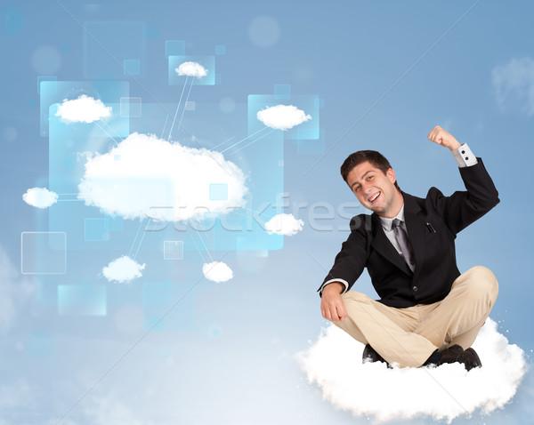 幸せ 男 見える 現代 クラウドネットワーク 若い男 ストックフォト © ra2studio