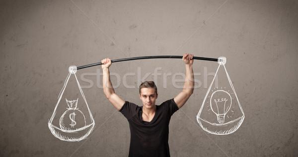 Izmos férfi kiegyensúlyozott erős tornaterem izom Stock fotó © ra2studio