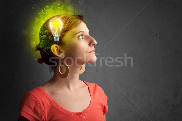 Jovem e pensando verde eco energia Foto stock © ra2studio