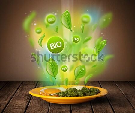 Saudável bio verde prato comida sujo Foto stock © ra2studio