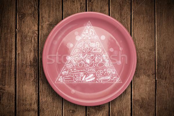 Hand drawn food pyramid on colorful dish plate Stock photo © ra2studio