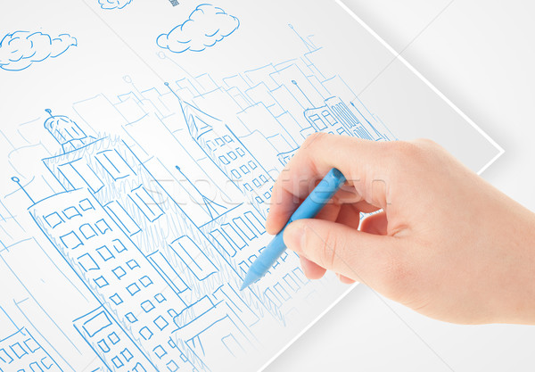 Persona dibujo boceto ciudad globos nubes Foto stock © ra2studio
