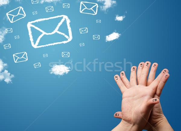 Boldog emotikon ujjak néz posta ikonok Stock fotó © ra2studio