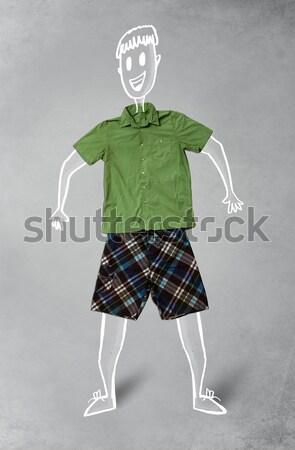 Funny charakter przypadkowy ubrania cute Zdjęcia stock © ra2studio