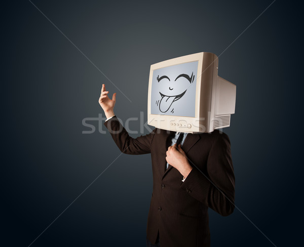 Feliz homem de negócios monitor de computador rosto sorridente tela sorrir Foto stock © ra2studio
