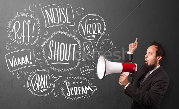 Fickó öltöny kiabál megafon kézzel rajzolt szövegbuborékok Stock fotó © ra2studio
