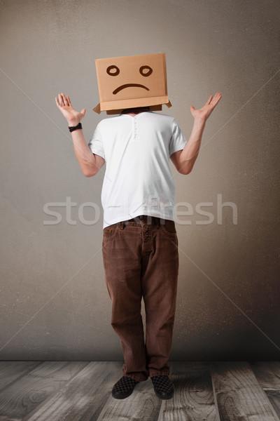 Jonge man bruin hoofd triest gezicht Stockfoto © ra2studio