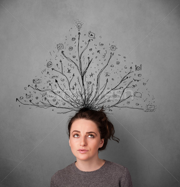 Young woman with tangled lines coming out of her head Stock photo © ra2studio