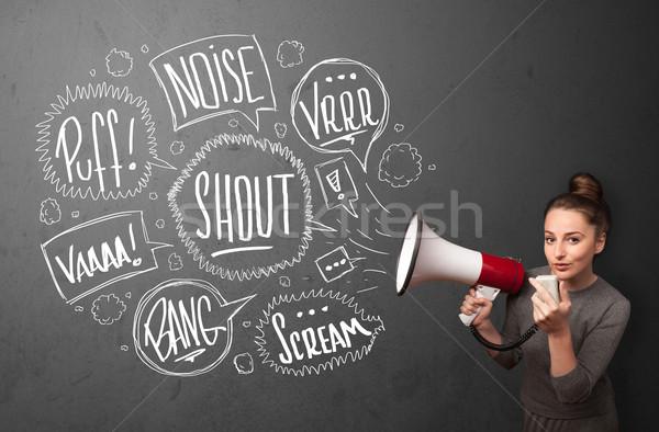 Lány kiabál megafon kézzel rajzolt szövegbuborékok jött Stock fotó © ra2studio