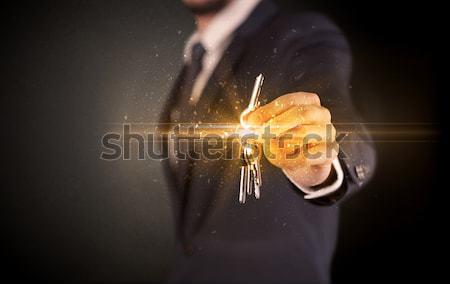 Musculação atleta peso fogo braço Foto stock © ra2studio
