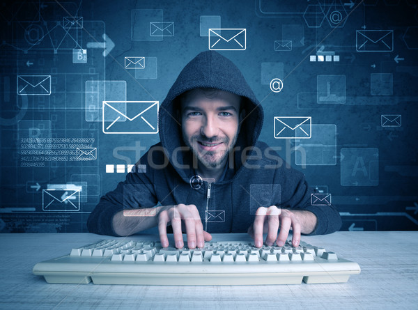 Intruder hacking email passcodes concept Stock photo © ra2studio