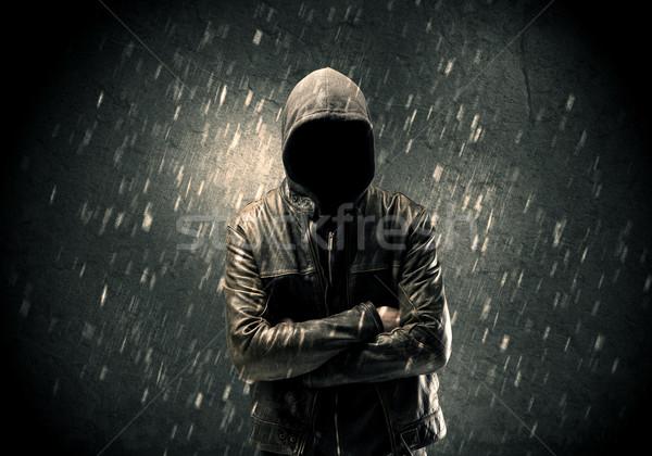 Unbekannt stehen dunkel Mann Lederjacke sichtbar Stock foto © ra2studio