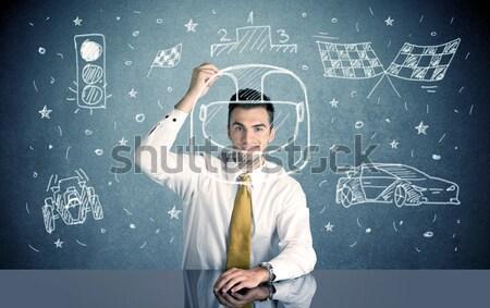 Estudante feliz empresário sessão secretária Foto stock © ra2studio