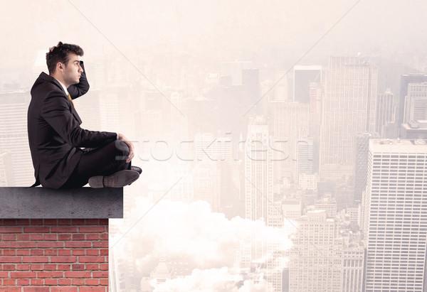 事務員 座って 屋上 市 エレガントな ビジネスマン ストックフォト © ra2studio