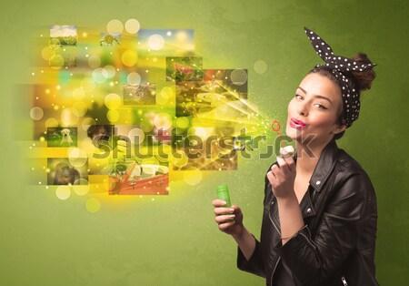 Stock fotó: Aranyos · lány · fúj · színes · izzó · emlék
