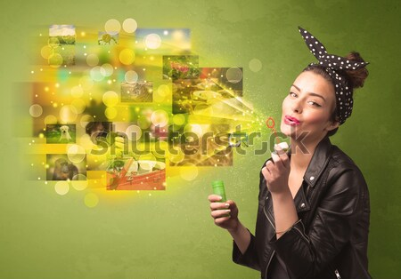Cute nina colorido memoria Foto stock © ra2studio