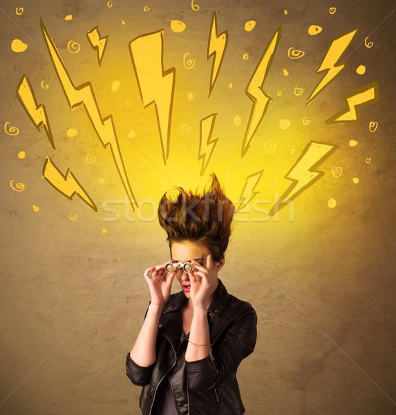 Młoda kobieta fryzura szczęśliwy tle lata Zdjęcia stock © ra2studio