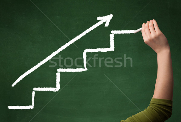 Stock photo: Hand drawing steps on blackboard
