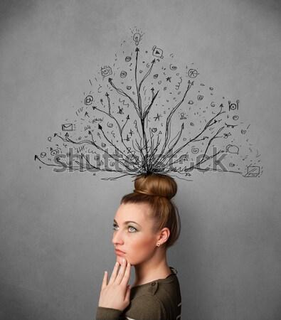 Heyecanlı genç kadın aşırı hatları yüz Stok fotoğraf © ra2studio