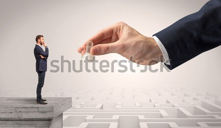 Businessman blindly in love in the middle of a maze Stock photo © ra2studio