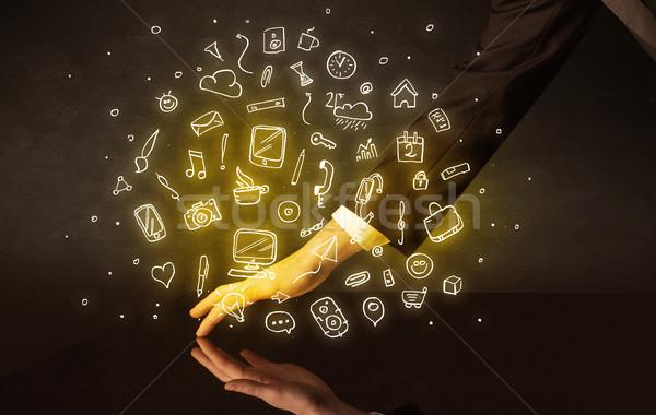 рук прикасаться интерактивный таблице мужчины желтый Сток-фото © ra2studio