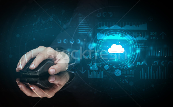 Hand wolk technologie draadloze muis Stockfoto © ra2studio