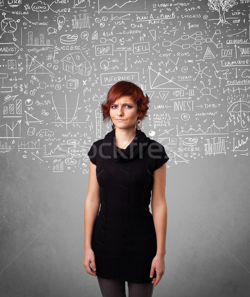 Young pretty lady with hand drawn calculations and icons Stock photo © ra2studio