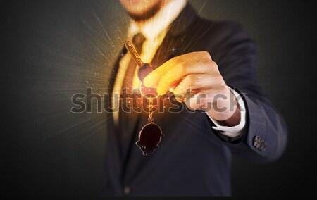 Fegyver alakú férfi kéz lövedék ki Stock fotó © ra2studio