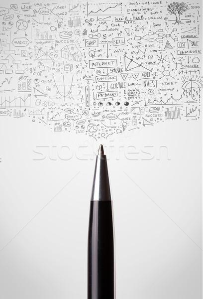 Pen close-up with sketchy diagrams Stock photo © ra2studio
